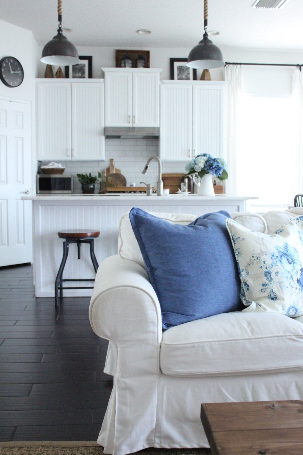 Blue And White Family Room White Family Rooms Family Room Room