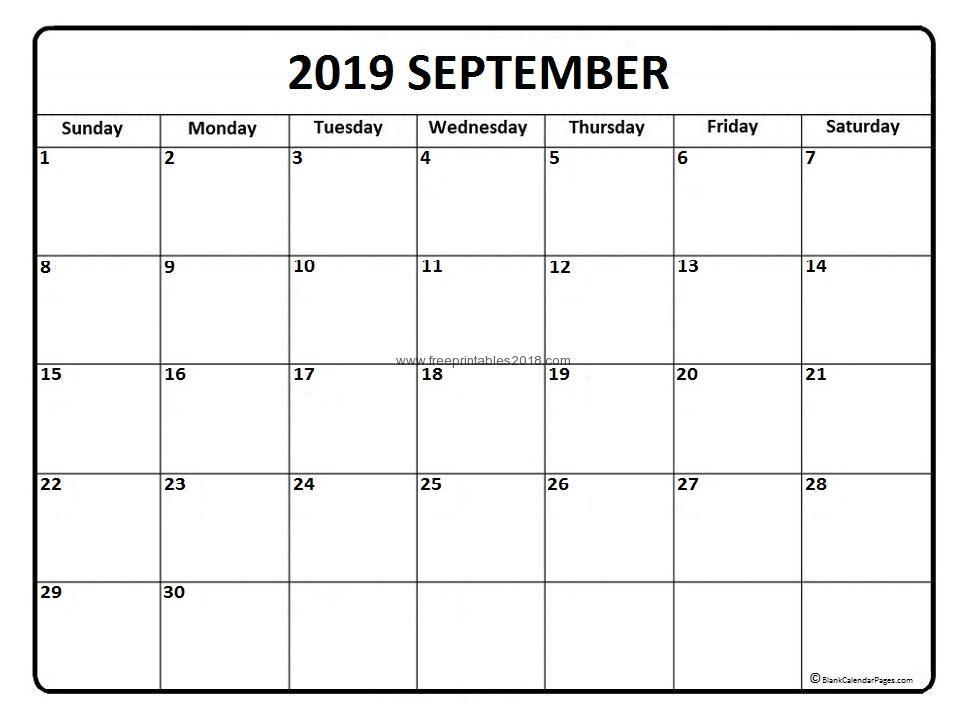 2019 September Calendar September 2019 Printable Calendar