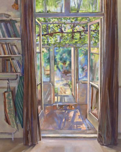 Looking through to the garden - oil painting by Sarah Bryant