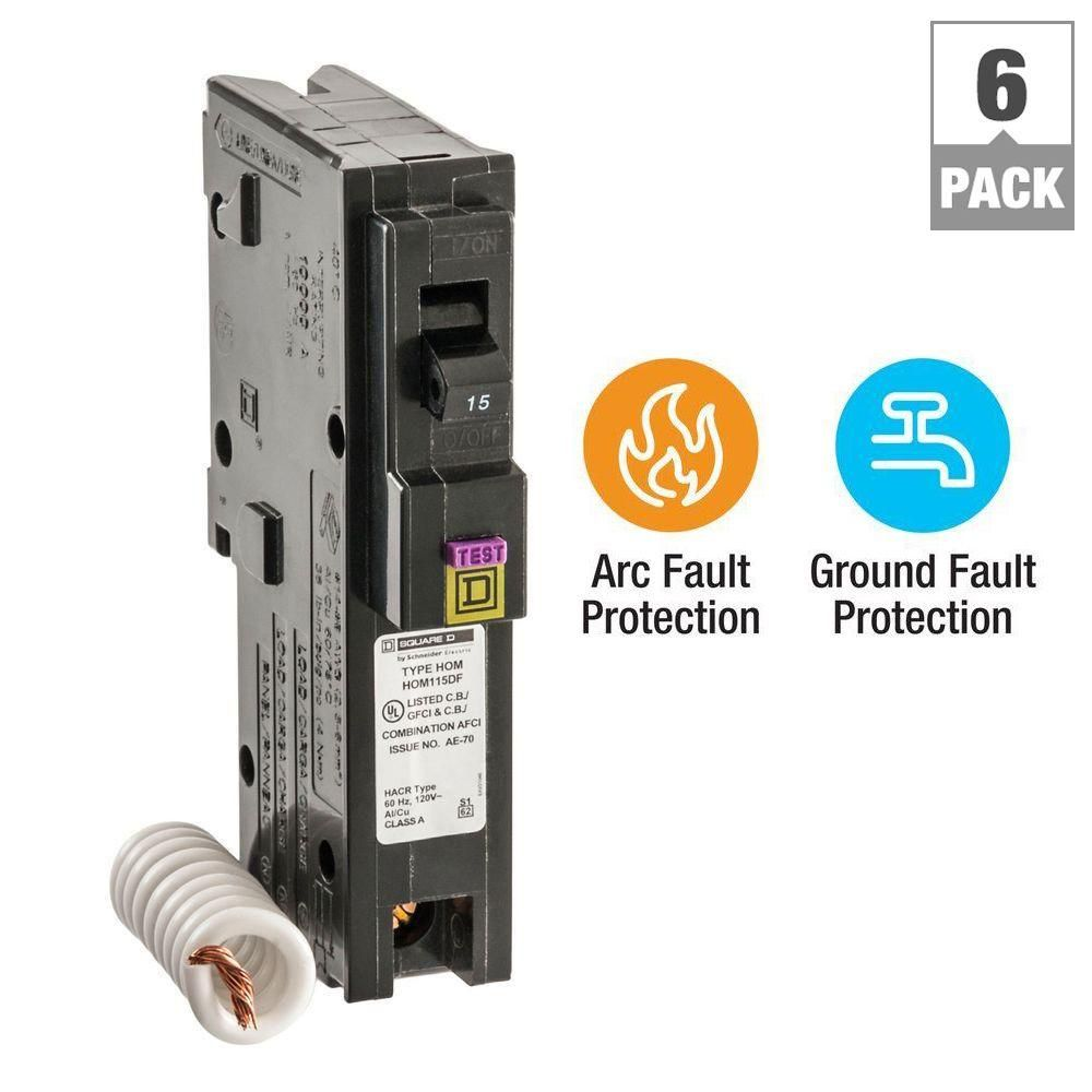 Square D Homeline 15 Amp Single Pole Dual Function Cafci And Gfci Circuit Breaker 6 Pack Hom115dfc6 National Electric Circuit Locker Storage
