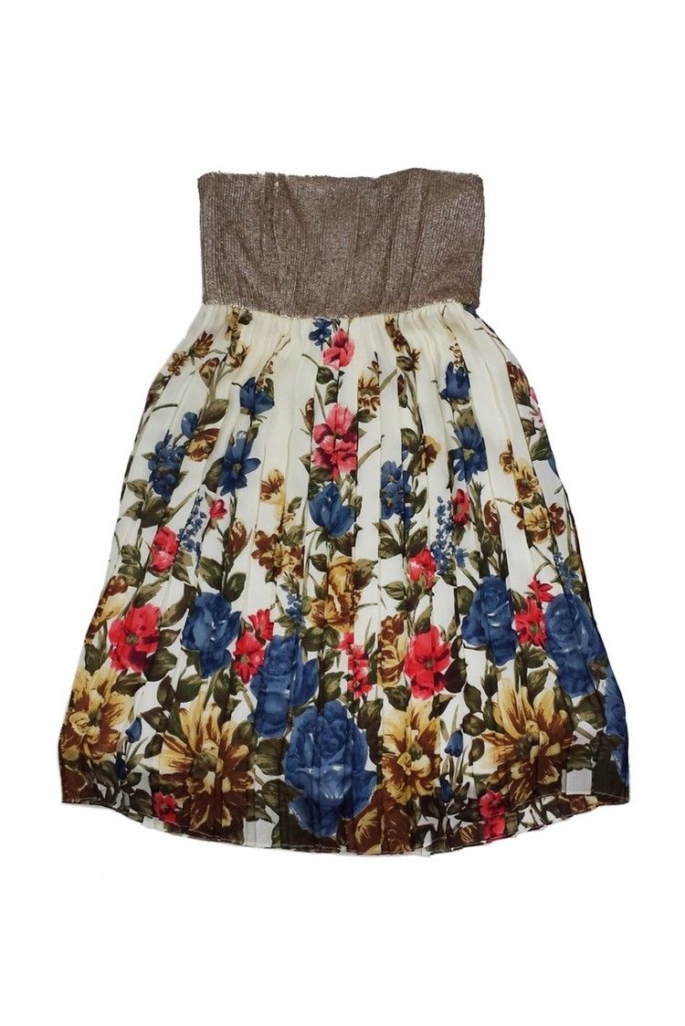 0bc4afb37a Alice & Olivia- Gold Pleated Floral Strapless Dress Sz 6 | Current Boutique