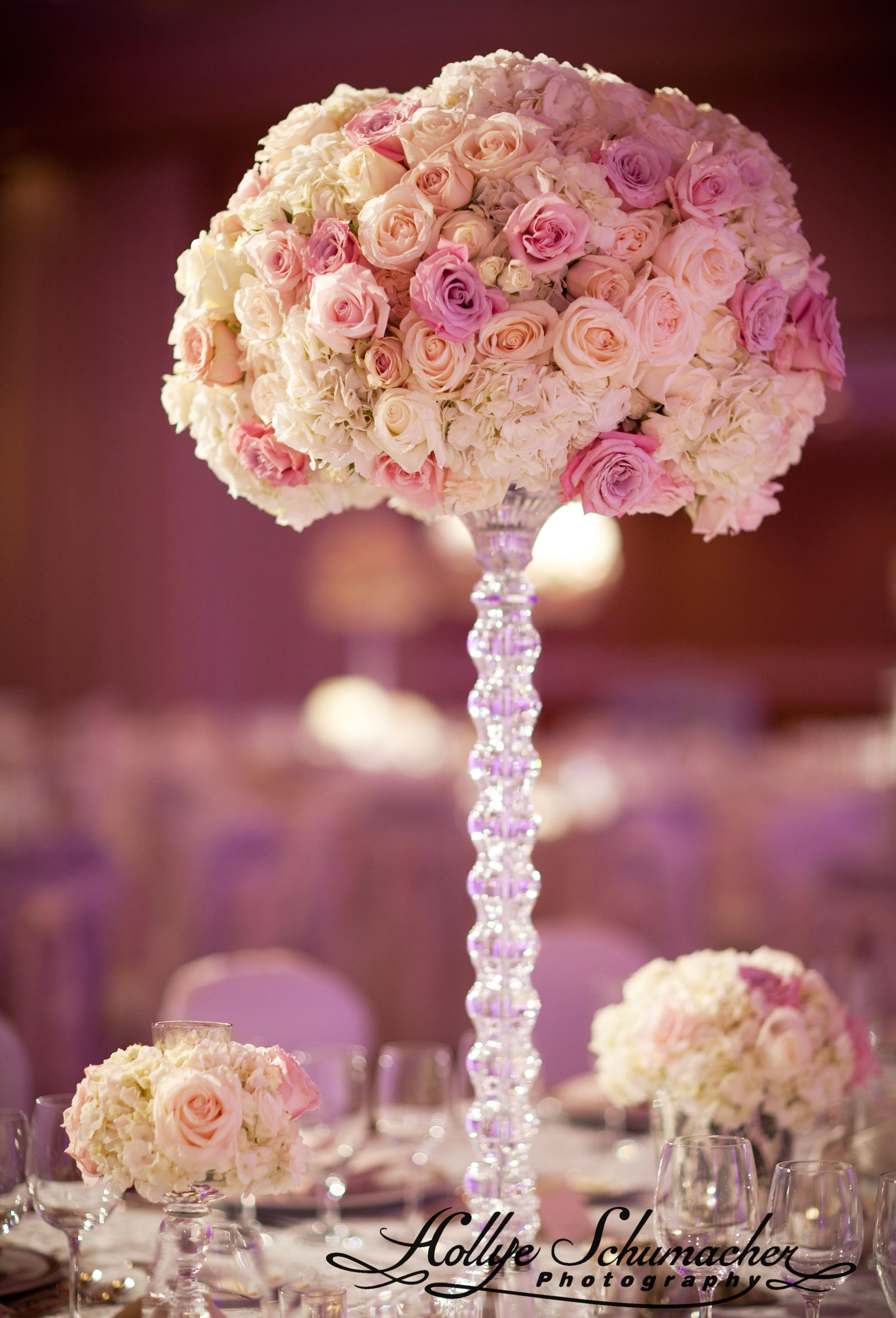 Gorgeous white and pink rose centerpieces weddings