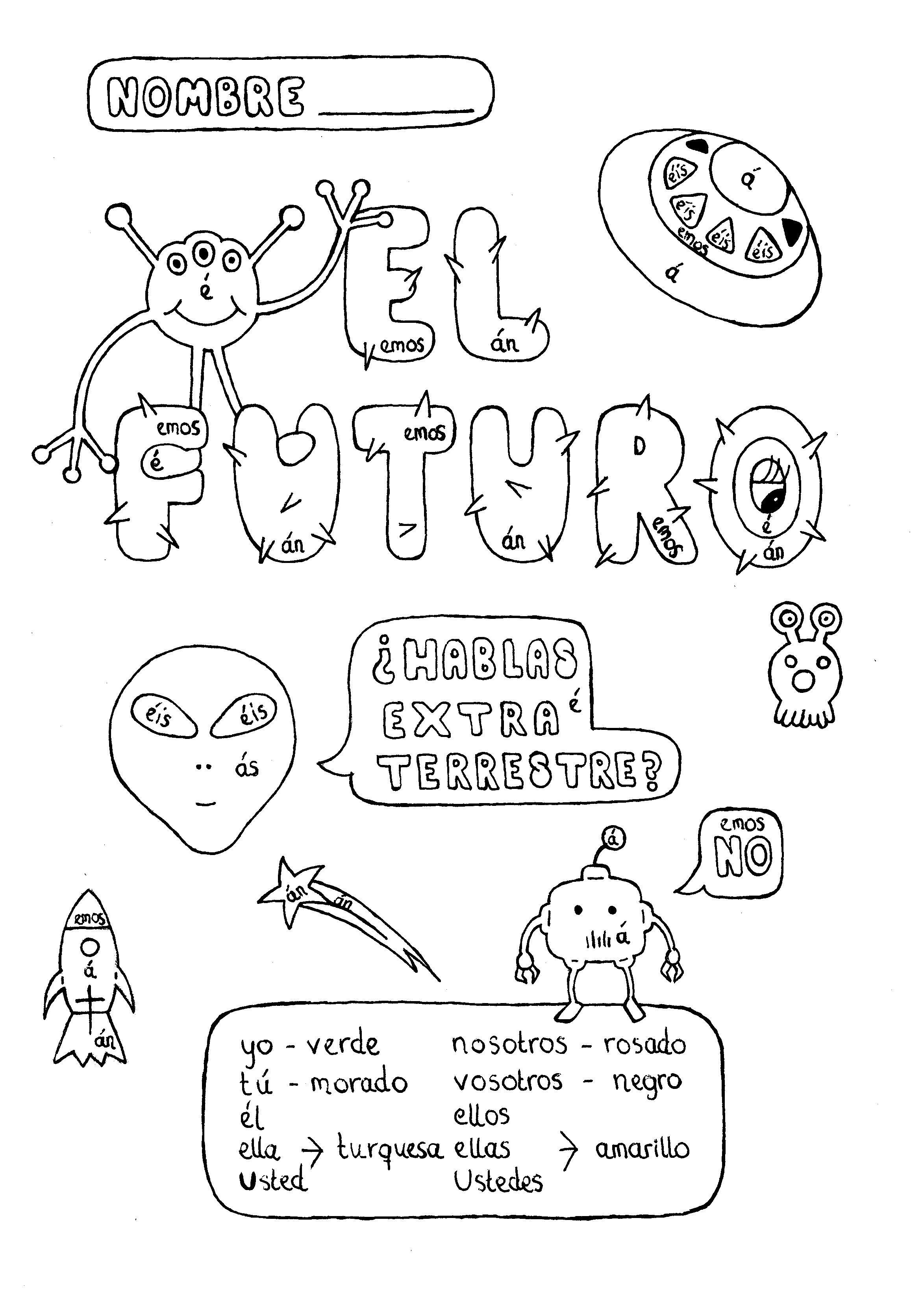 Spanish Simple Future Tense Color By Conjugation Fun No
