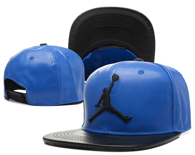 37310fc65d0 ... new style jordan leather snapback hats blue 143 c1010 d2aeb