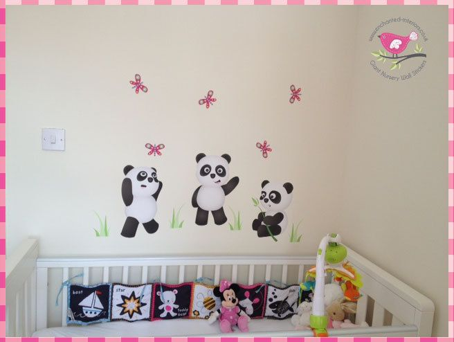 Panda Bears Playing Nursery Wall Art Stickers / Decals - pinned by pin4etsy.com