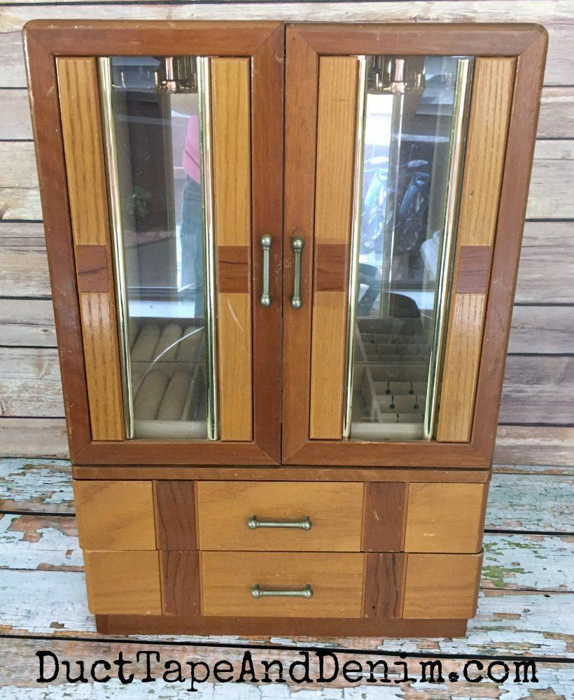 BEFORE - art deco jewelry cabinet thrift store makeover | DuctTapeAndDenim.com  #thriftstorefind #jewelrycabinet #vintage #largejewelryarmoirewoods