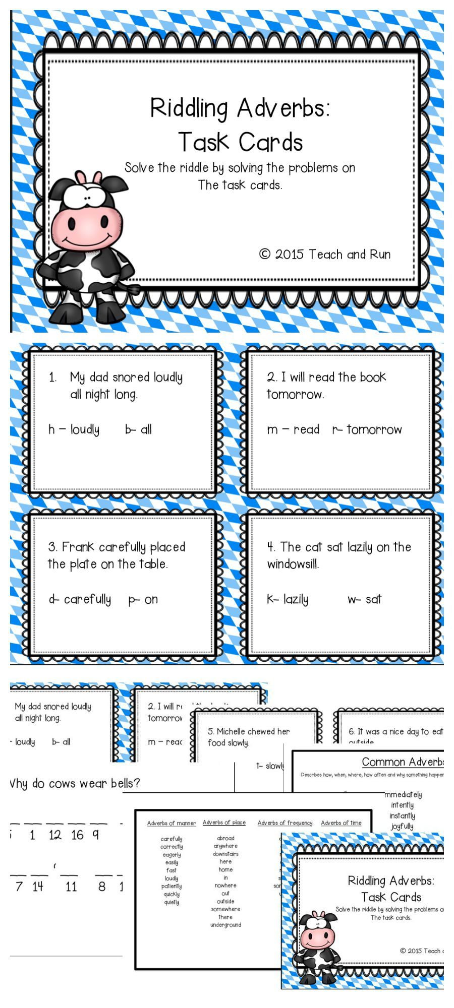 Adverbs Riddling Task Cards Elementary Teaching Resources Task