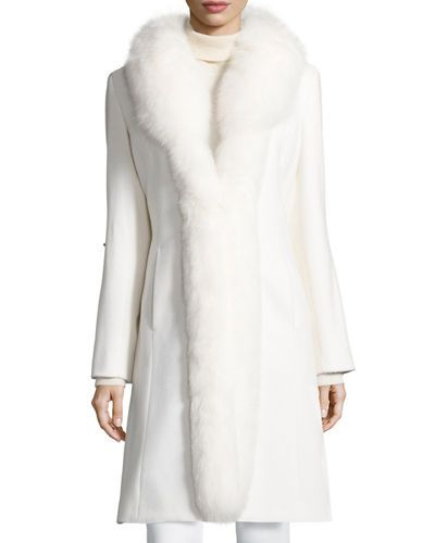 TCYEW Sofia Cashmere Long Fur-Trimmed Wool Tuxedo Coat | Favorite ...