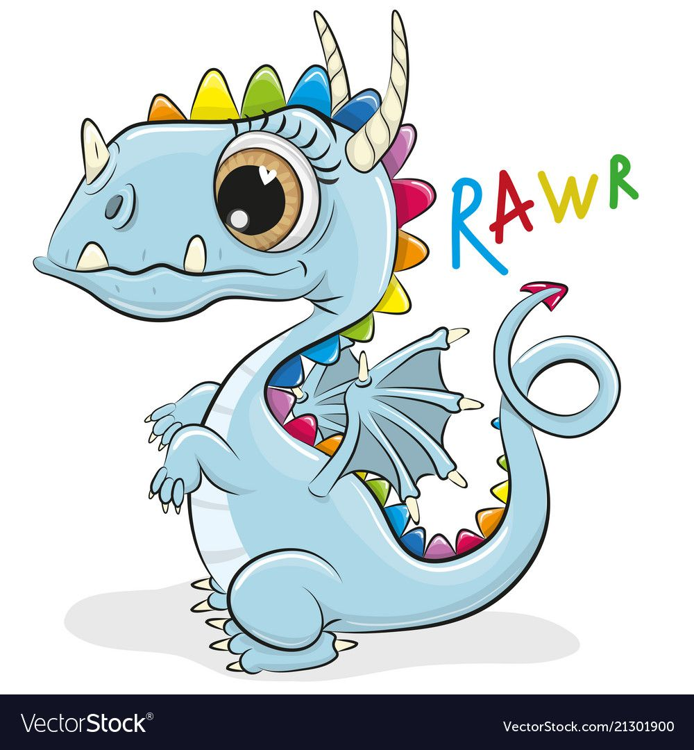 Cute Cartoon Dragon On A White Background Vector Image On Vectorstock Cartoon Dragon Cute Cartoon Cartoon Clip Art