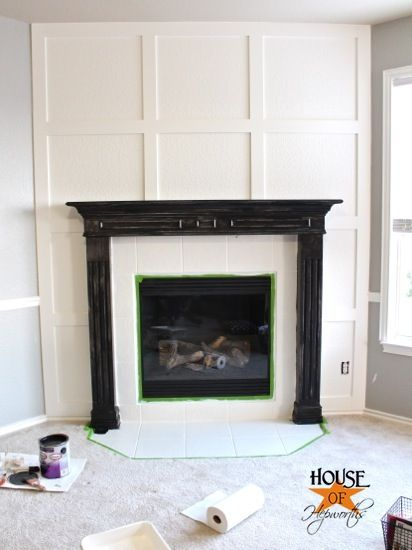 a dramatic fireplace makeover white moulding black mantel - Black Fireplace Mantels