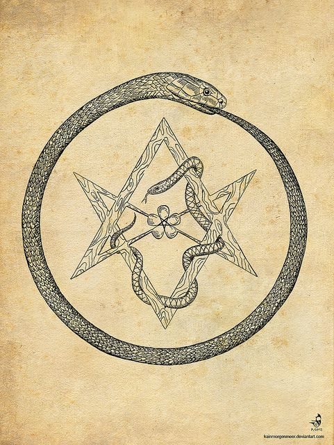 Ouroborus And Hexagram Alchemy Tattoo And Occult