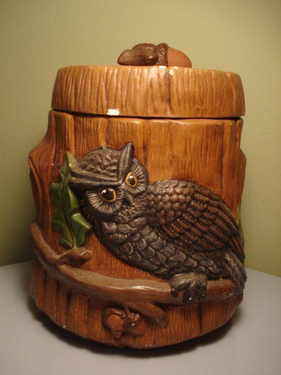 Vintage Ceramic Owl Storage Container Medium by LovesAllThingsYou