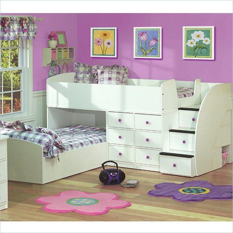 Bedroom Colour For Kids L Shaped Bedroom Design Ideas Classic Bedrooms For Girls Elegant Bedroom Wallpaper: Berg Furniture Sierra L-Shaped Twin Over Twin Captains