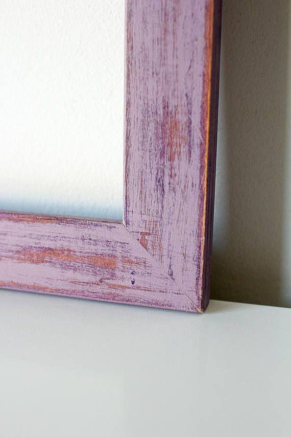 Marco fotos lila chalk paint hecho a mano madera alambre | Marco ...