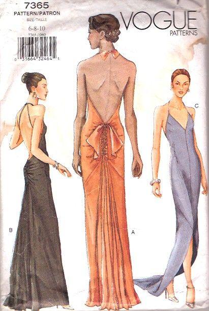 Backless Dress Pattern Vogue Sewing Patterns Evening