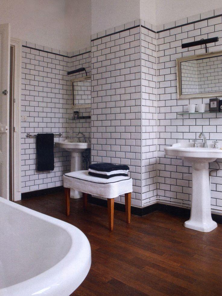retro black and white bathroom metro tiles