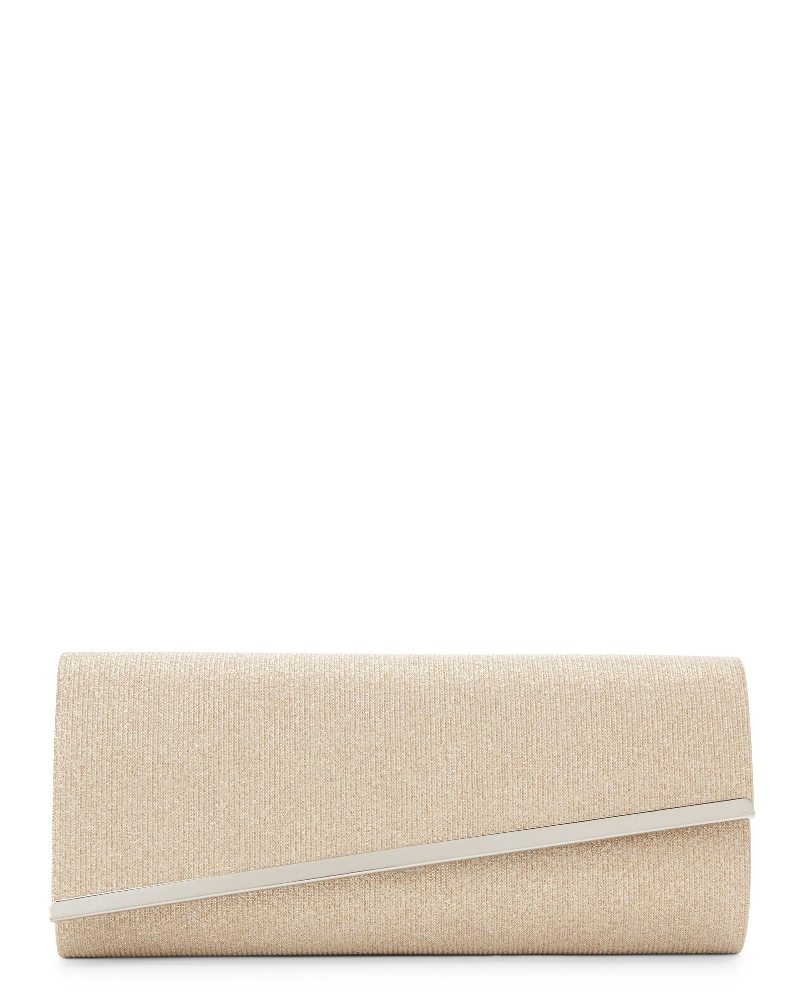 Sasha Gold Asymmetrical Flap Glitter Clutch