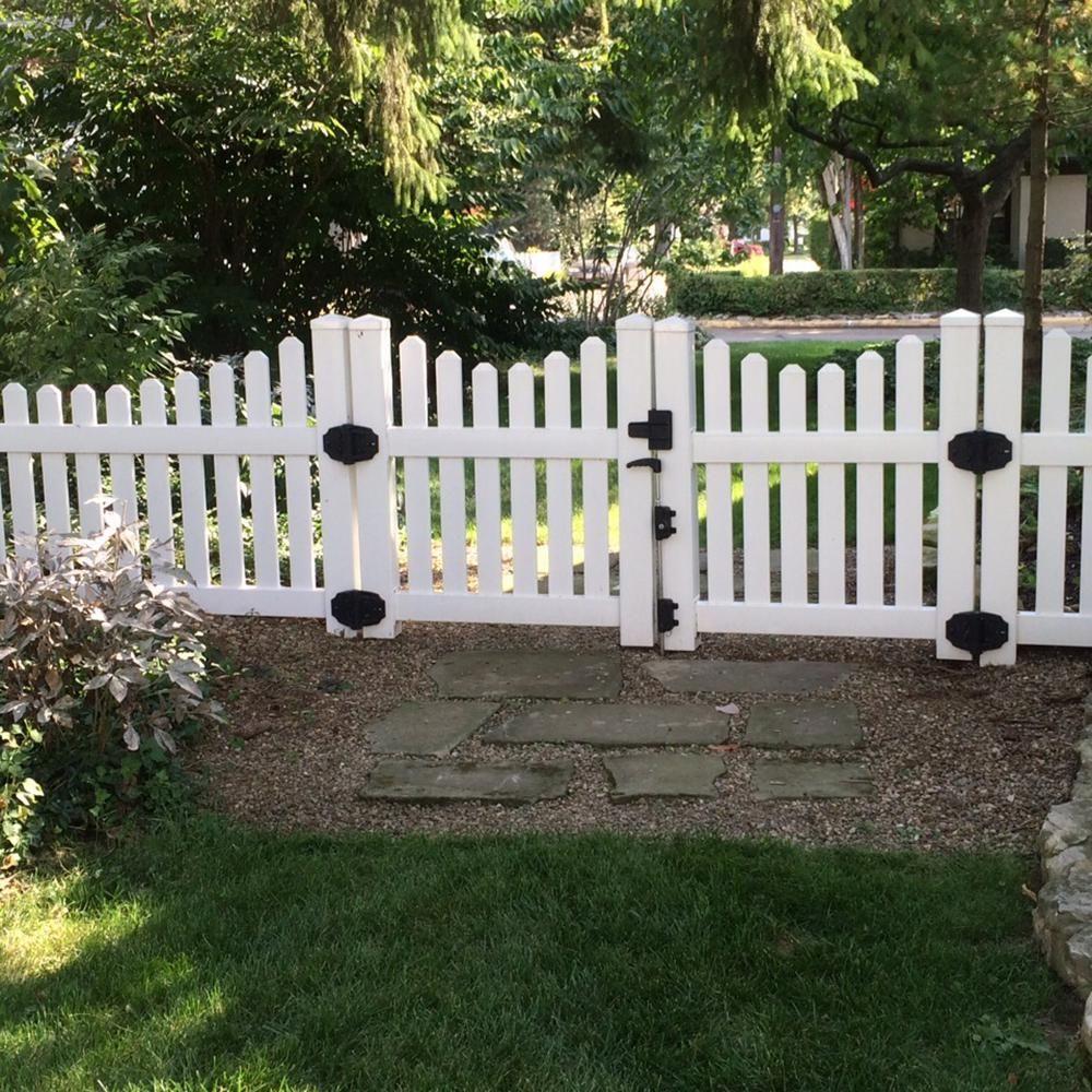 Weatherables Richmond 8 Ft W X 4 Ft H White Vinyl Picket Fence Double Gate Dwpi 3nrsc 4x48 Vinyl Picket Fence Double Gate Picket Fence