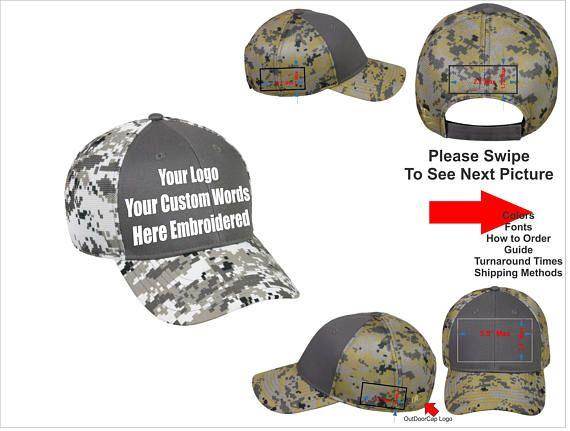 ba30cf43f687c Custom Hat. Custom Logo Hat . Custom Text Hat . Curved Bill Hat. Digital  Camo Hat. Embroidered. Adjustable hook and loop fasteners back.