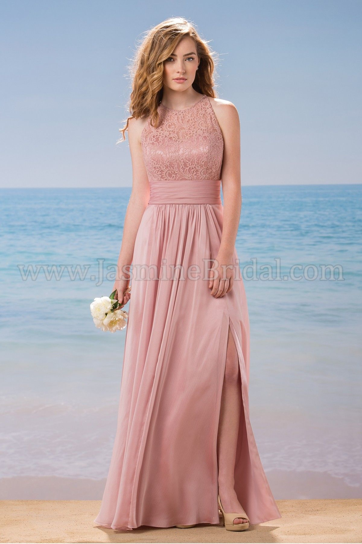 L184015 Long Jewel Neckline Lace & Belsoie Tiffany Chiffon ...