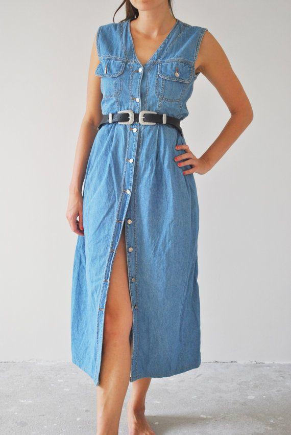 c9e6952fecd Woman Vintage Denim Buttoned Maxi Dress   Woman Festivals Denim Dress    Woman Hippie Grunge Long Dress   Bohemian Woman Dress