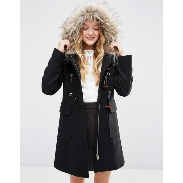 ASOS Wool Blend Fur Hooded Duffle Coat (1 400 ZAR) ❤ liked on Polyvore featuring outerwear, coats, black, toggle coats, duffle coats, toggle duffle coat, asos coats and asos