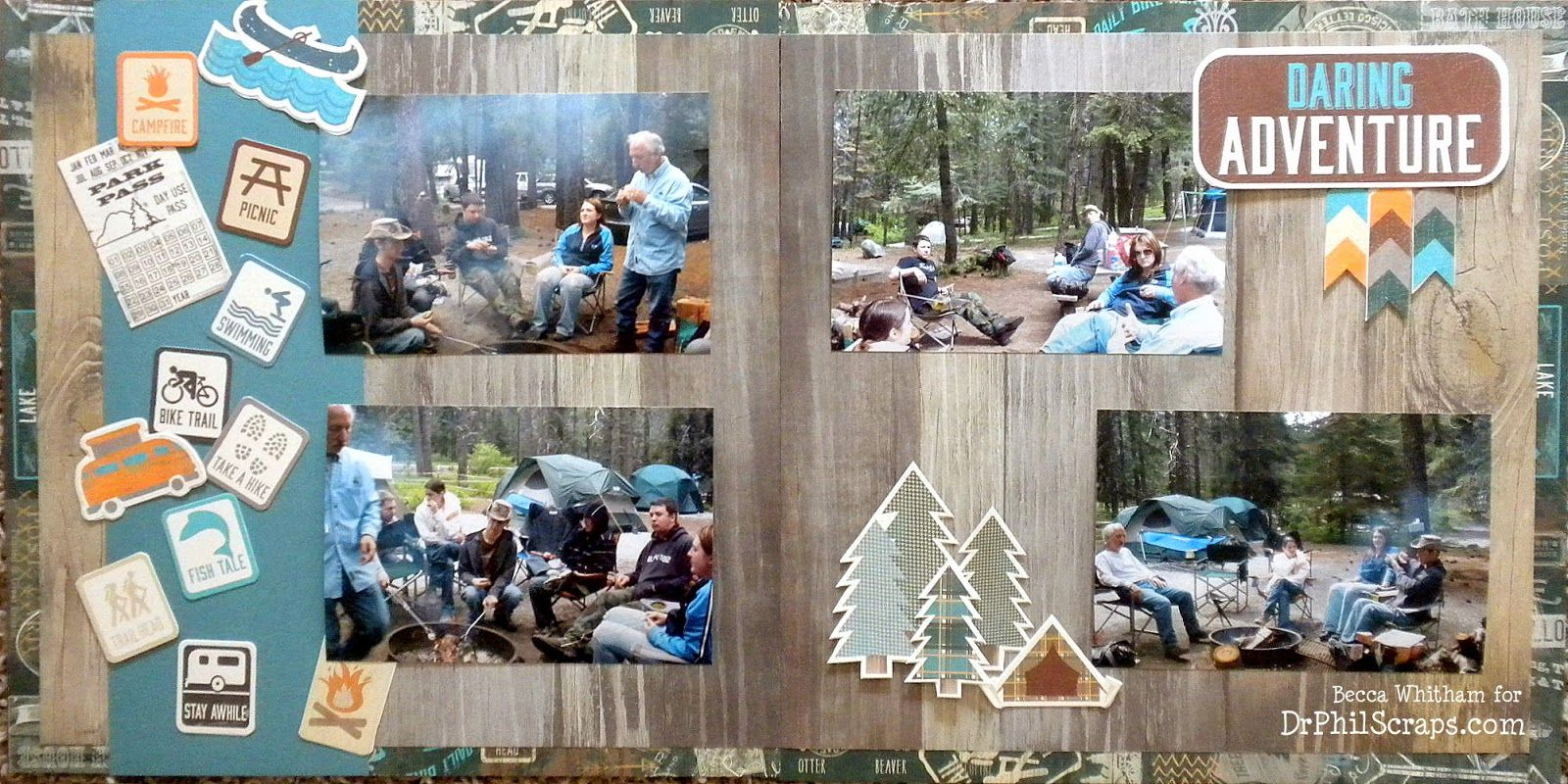 Camping Scrapbook Layout using Timberline from CTMH - http://DrPhilScraps.com