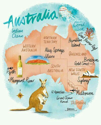 Map Of Australia Blue Zaria Australia Australia Travel