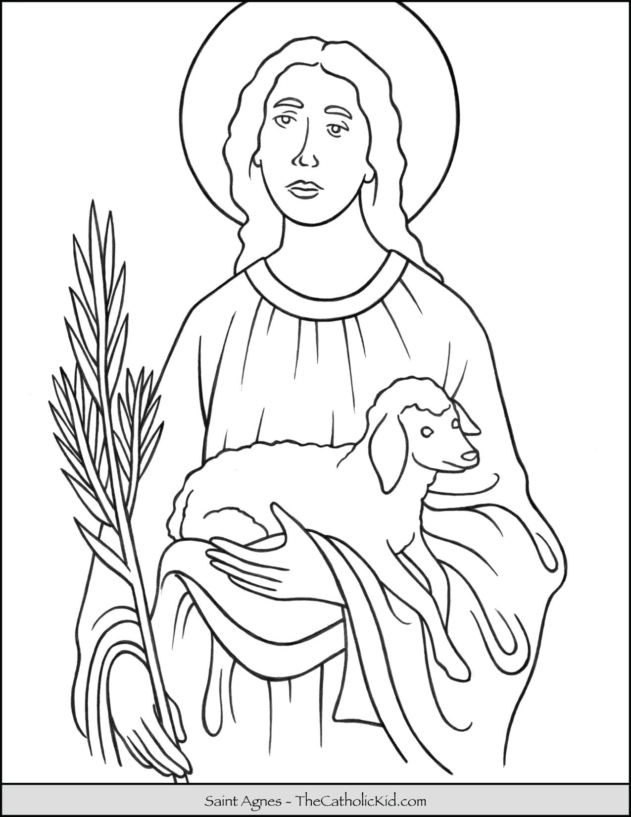 Saint Agnes Coloring Page Coloring Pages Christian Coloring Saint Coloring
