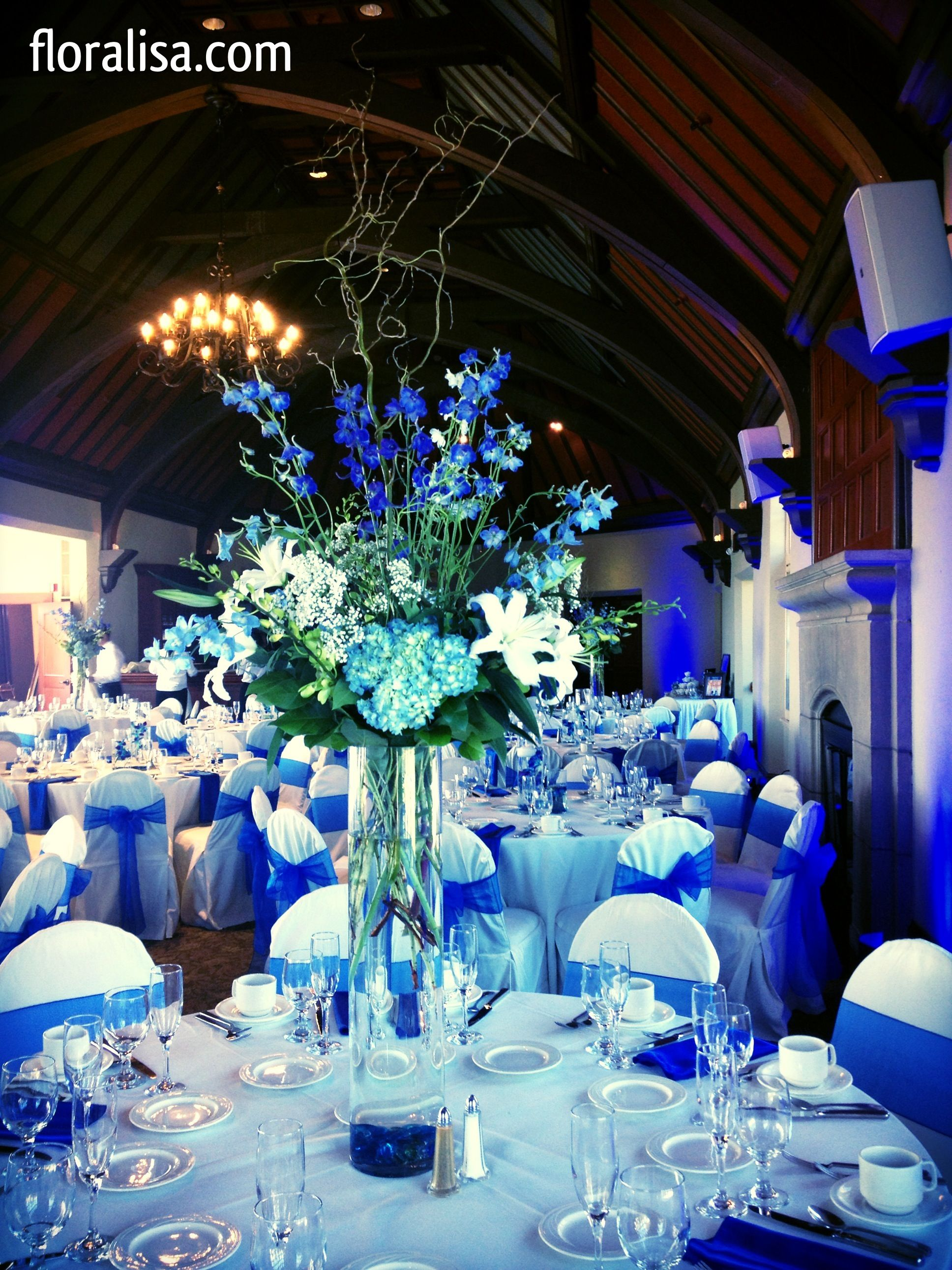 blue wedding table centerpieces by