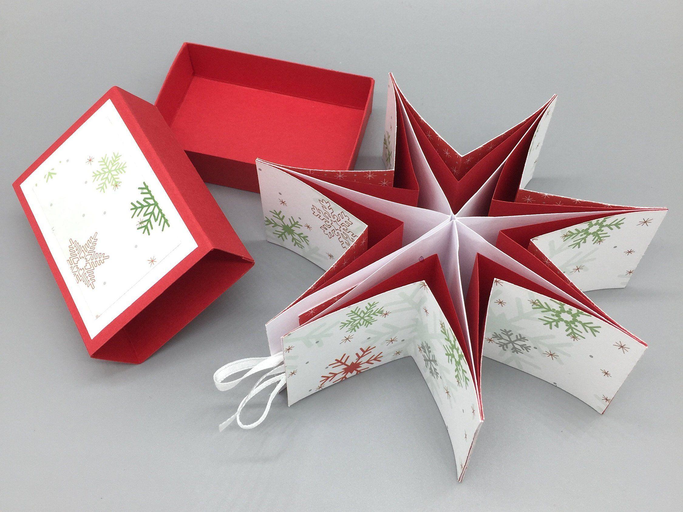 Stern-in-der-Schachtel Schneeflocken, das weihnachtliche Geschenk aus der Streichholzschachtel zum Aufhängen