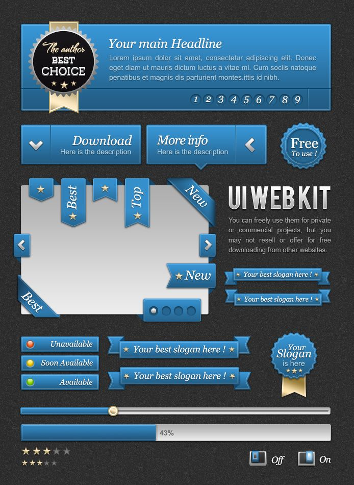 UI Blue web kit  You can freely use them for private or commercial projects, but you may not resell or offer for free downloading from other websites.