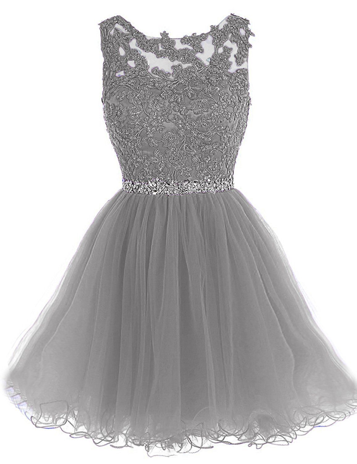 Wding short tulle homecoming dresses appliques beads prom party gown