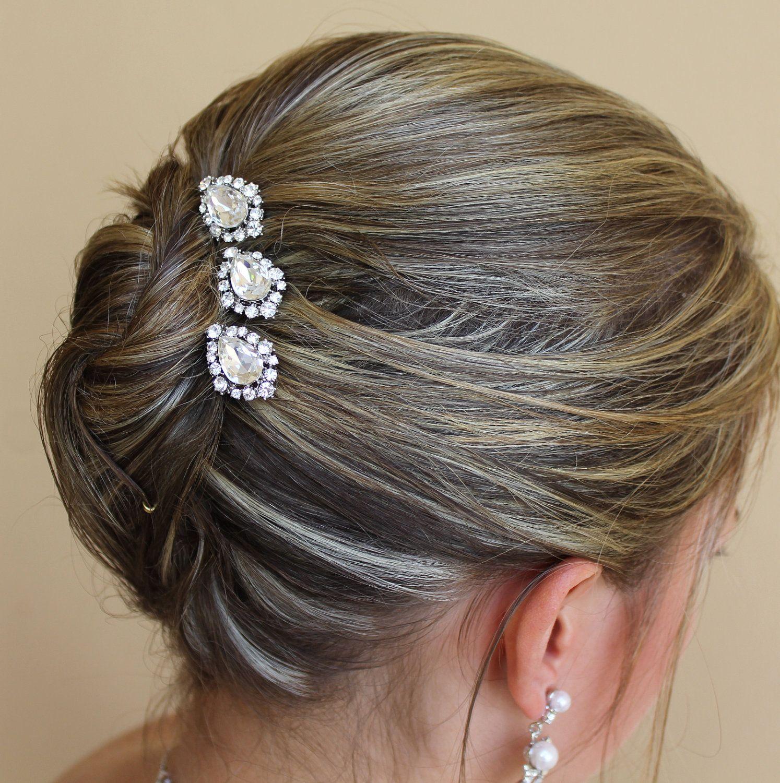 Bridal Head Pins Set of Three Bridal Crystal Hair by JamJewels via