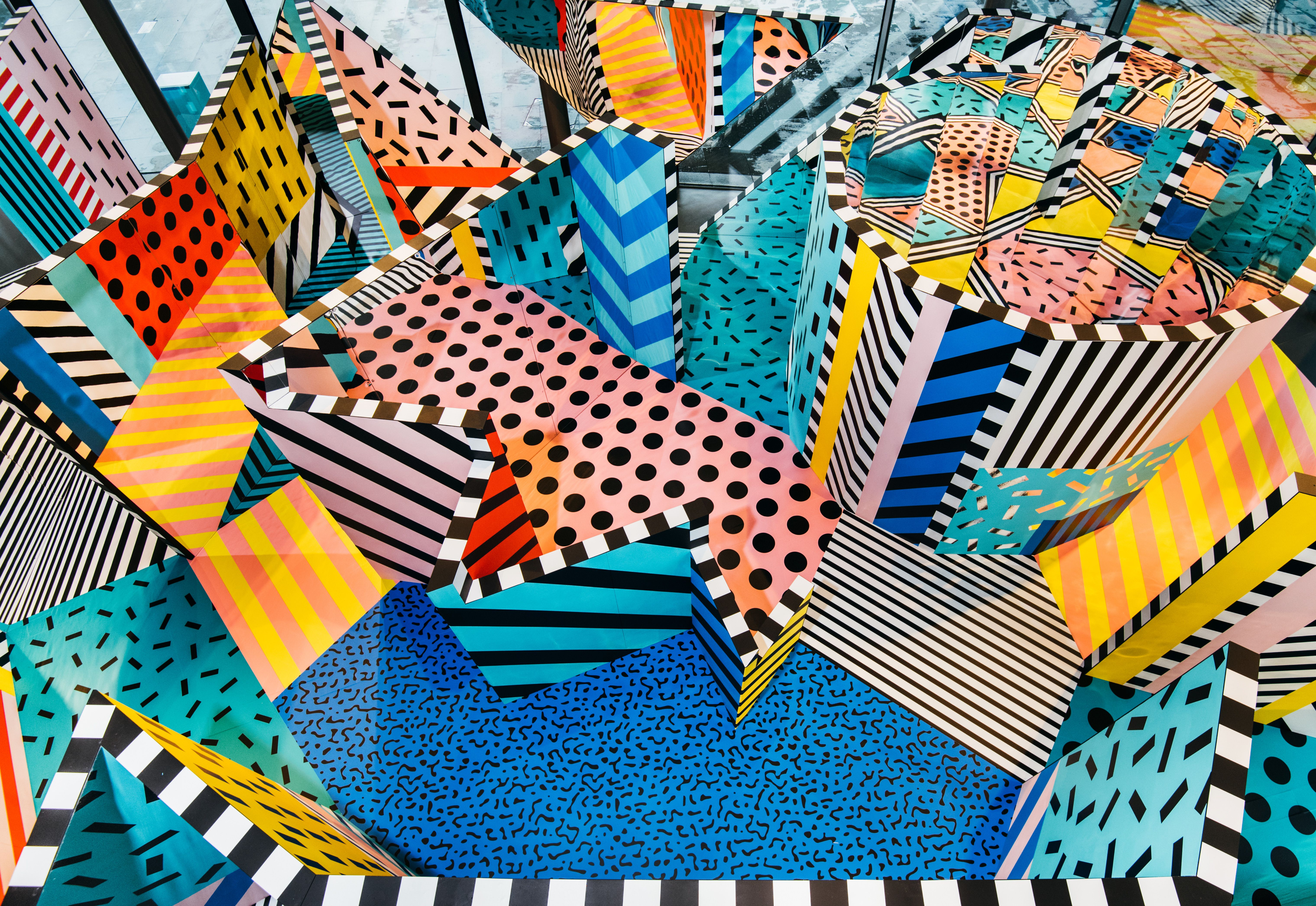 Colourful Labyrinth by Camille Walala Memphis design