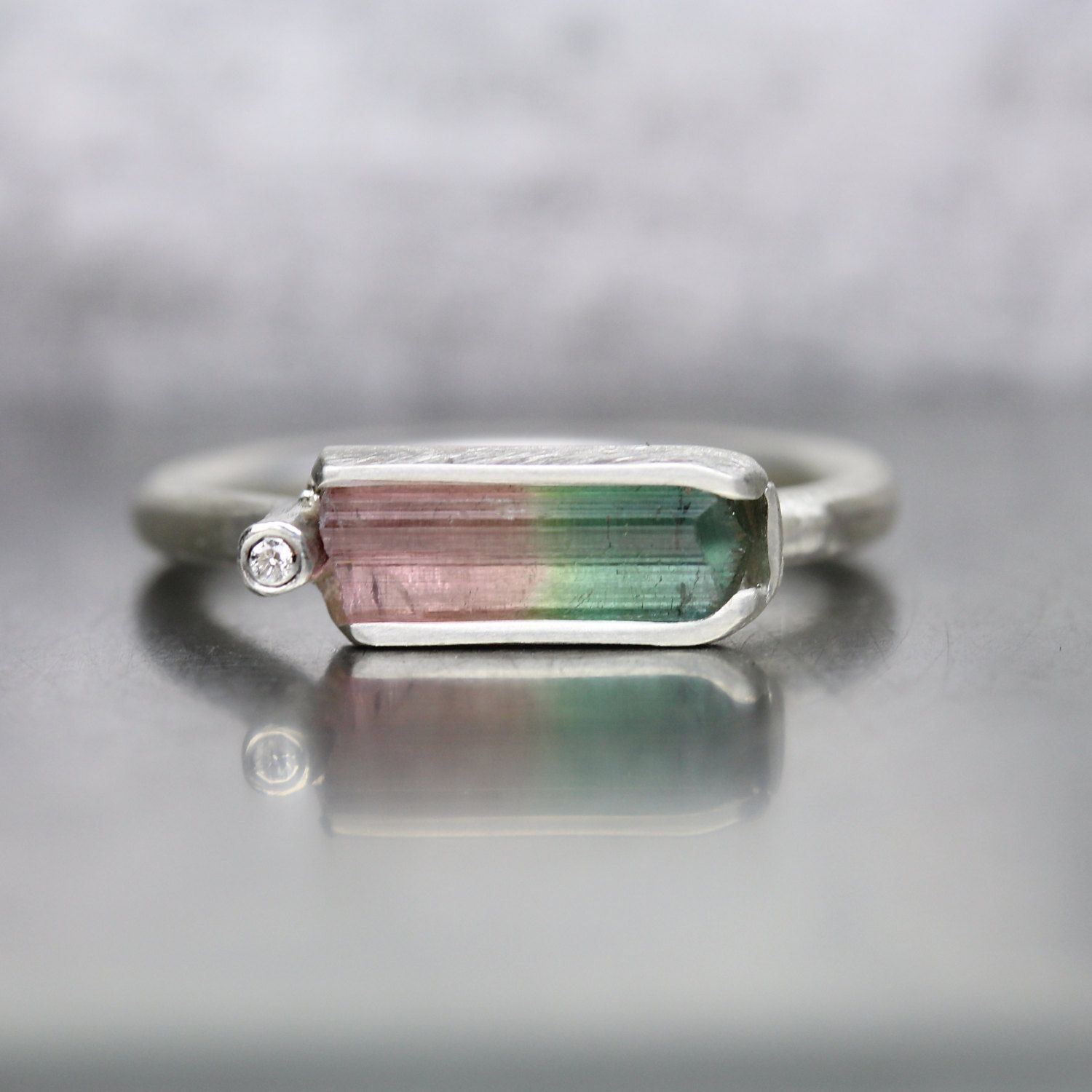 6064bc88ba4218 Raw Watermelon Tourmaline Diamond Ring Silver Modern Pink Green Unique  Rough Gemstone - Watermelon Cradle by NangijalaJewelry on Etsy