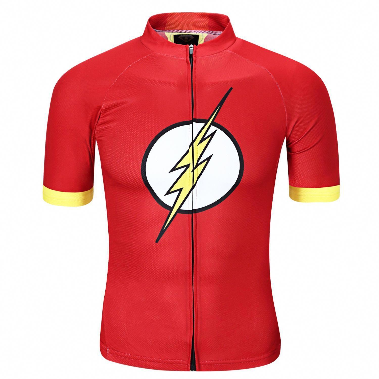 8f68a1ace Flash red short sleeve t shirt for Men Superhero Cycling Jersey   bestbikeformen