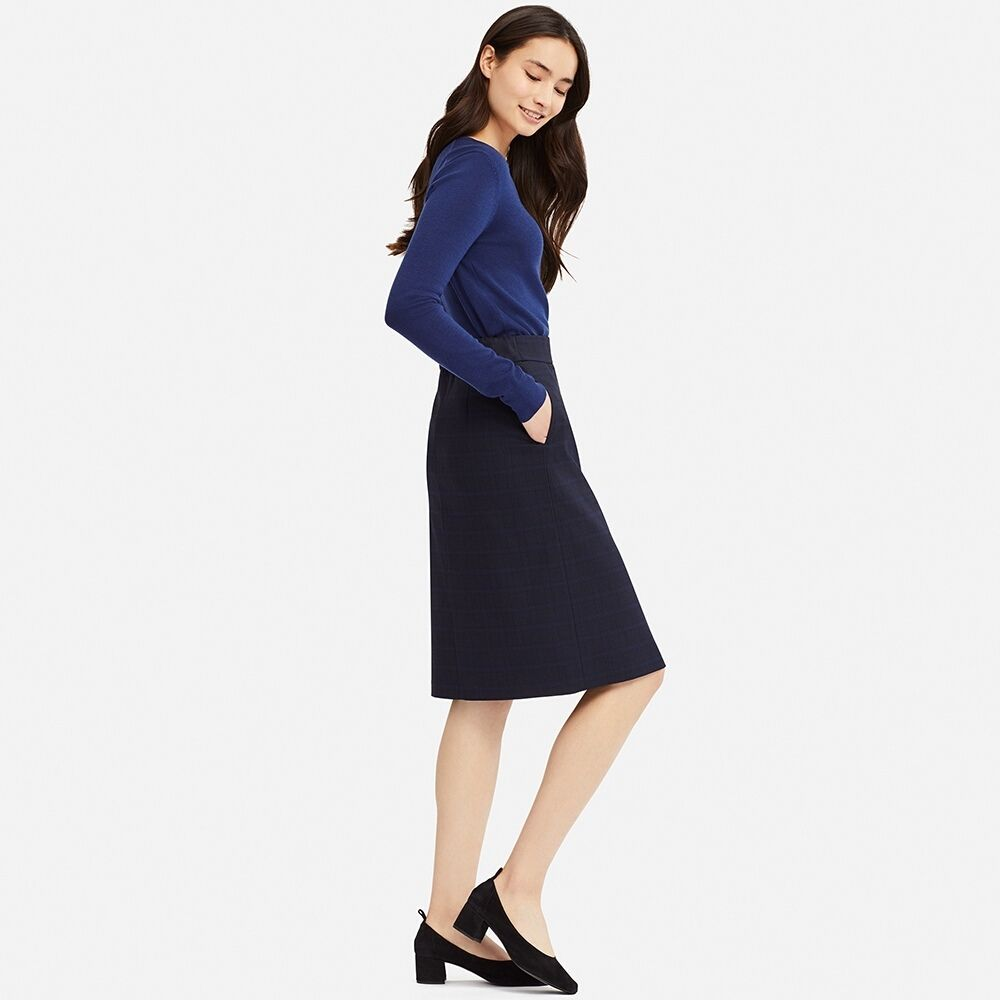 c2fae2a526 UNIQLO WOMEN CHECK NARROW SKIRT (HIGH WAIST) | Work Edit | Fashion ...