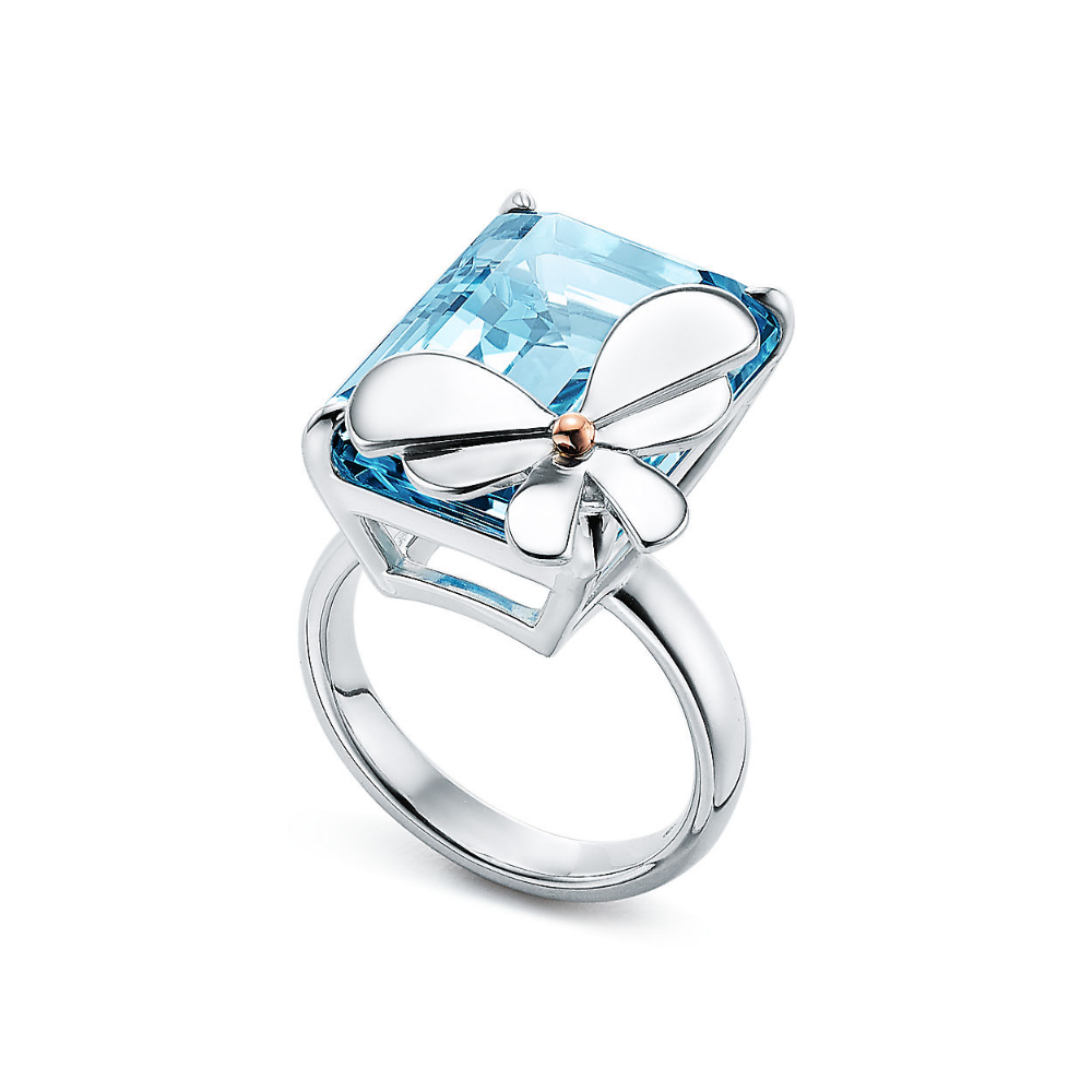 Return to Tiffany® Love Bugs blue topaz butterfly ring in