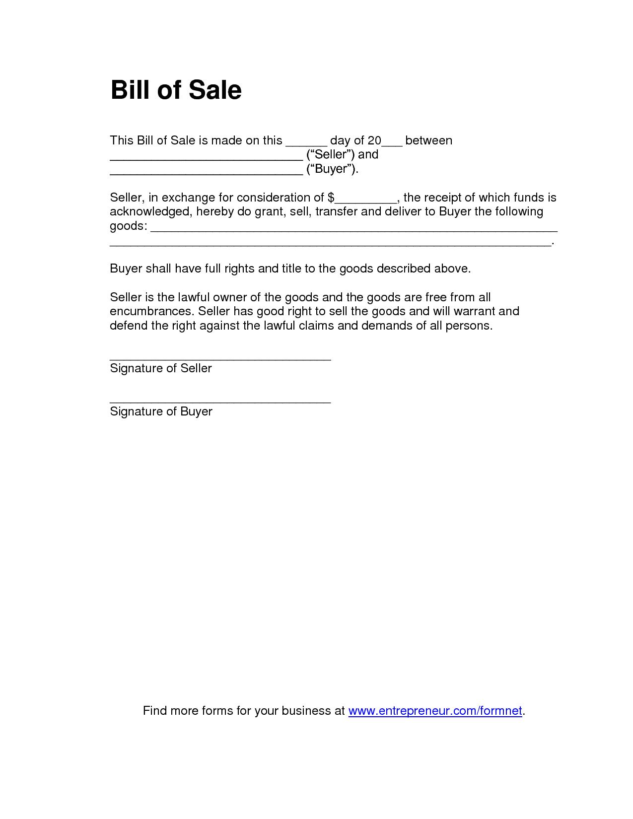 Printable Sample Bill Of Sale Templates Form