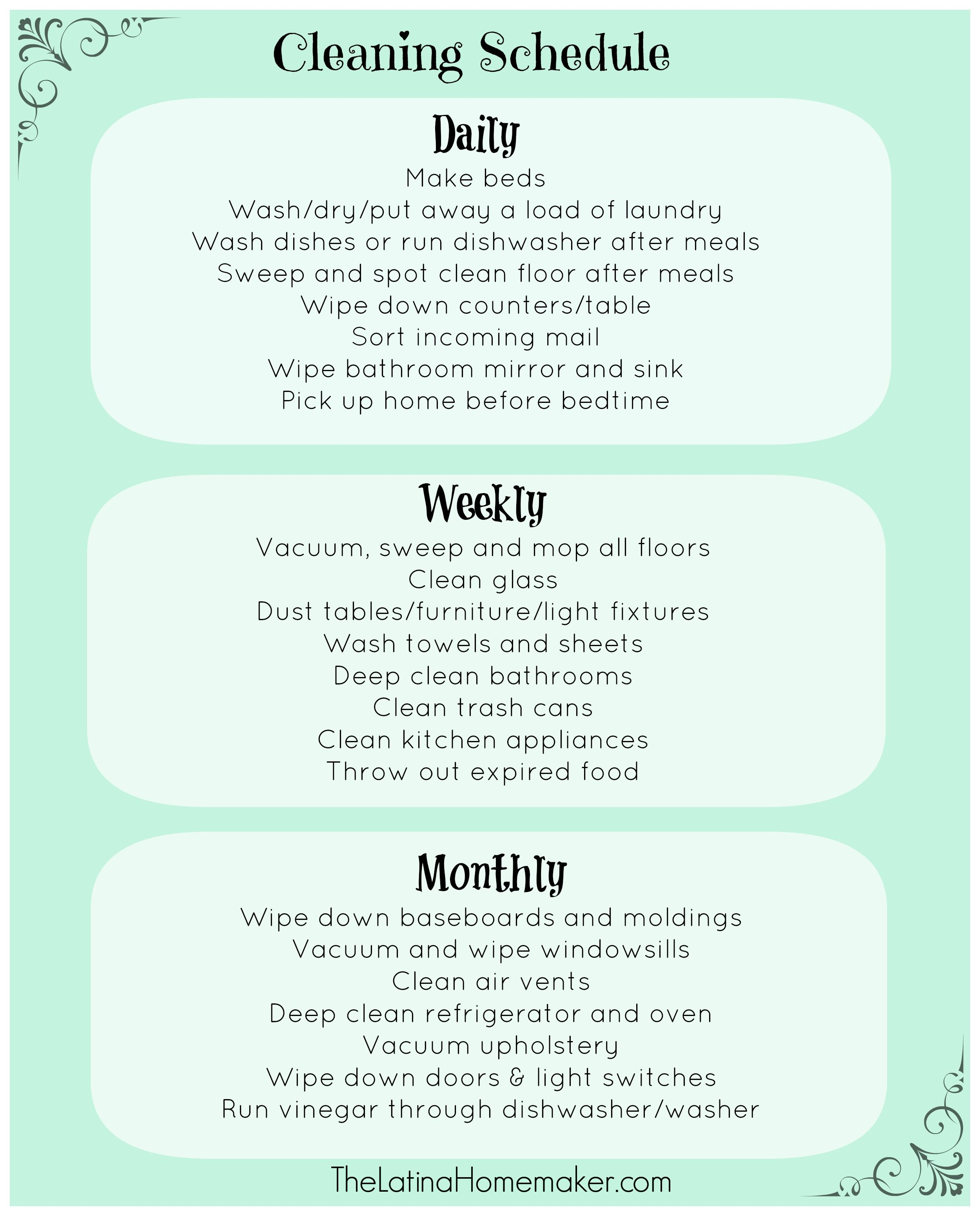 Printable Cleaning Schedule  Cleaning Schedules Organizing And