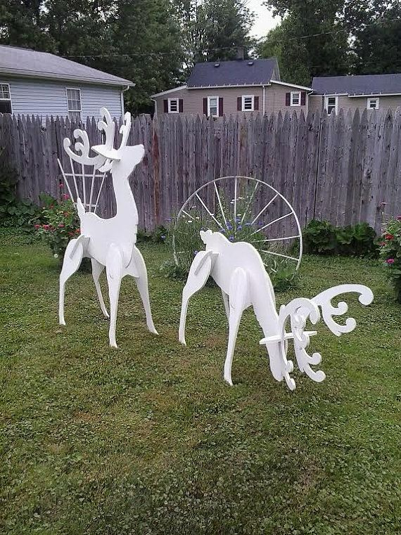 Outdoor White Reindeer Display These