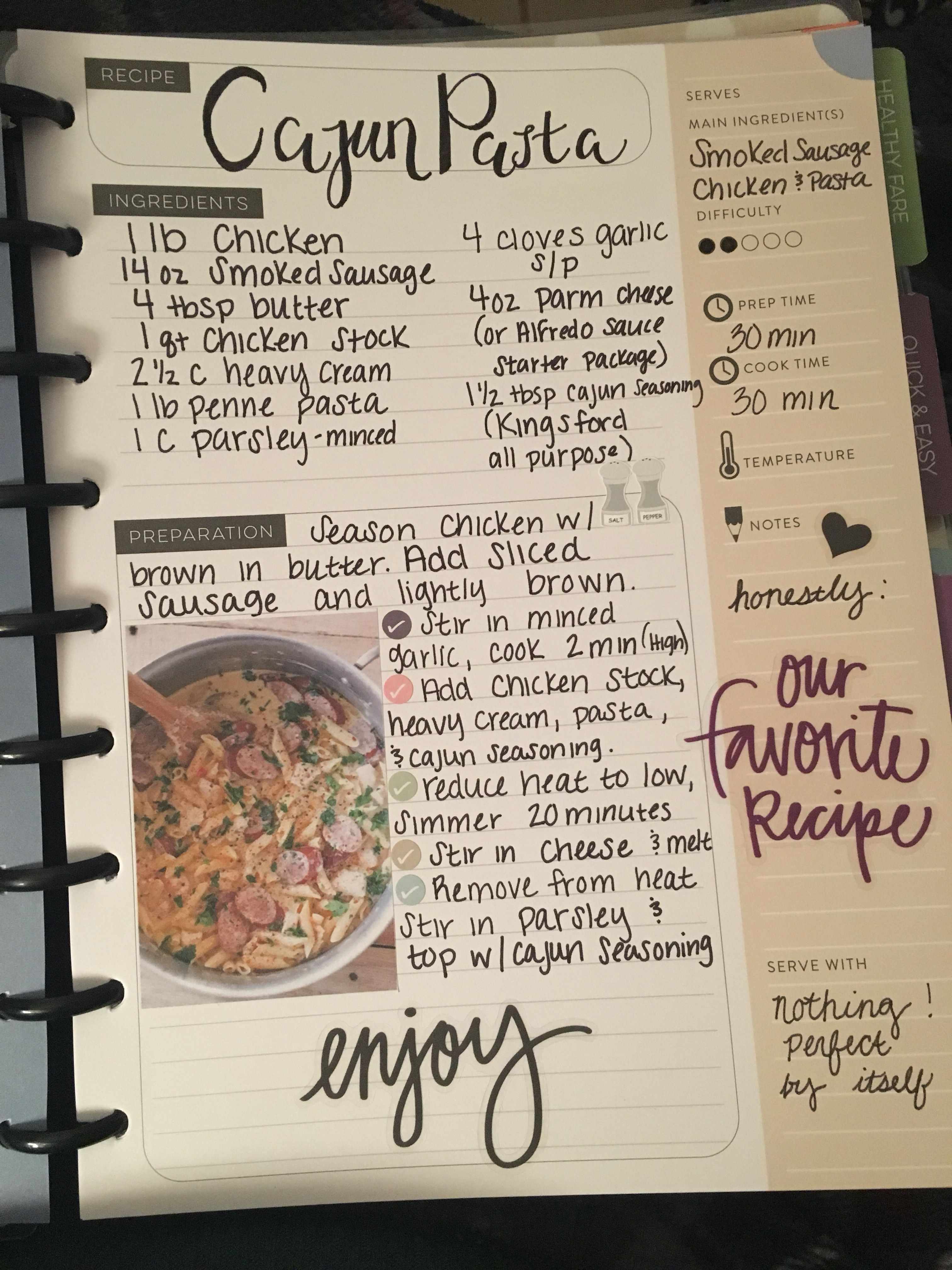 Happy Planner Recipe Meal Plan Homemade Cookbook Recipe Book Diy Homemade Recipe Books