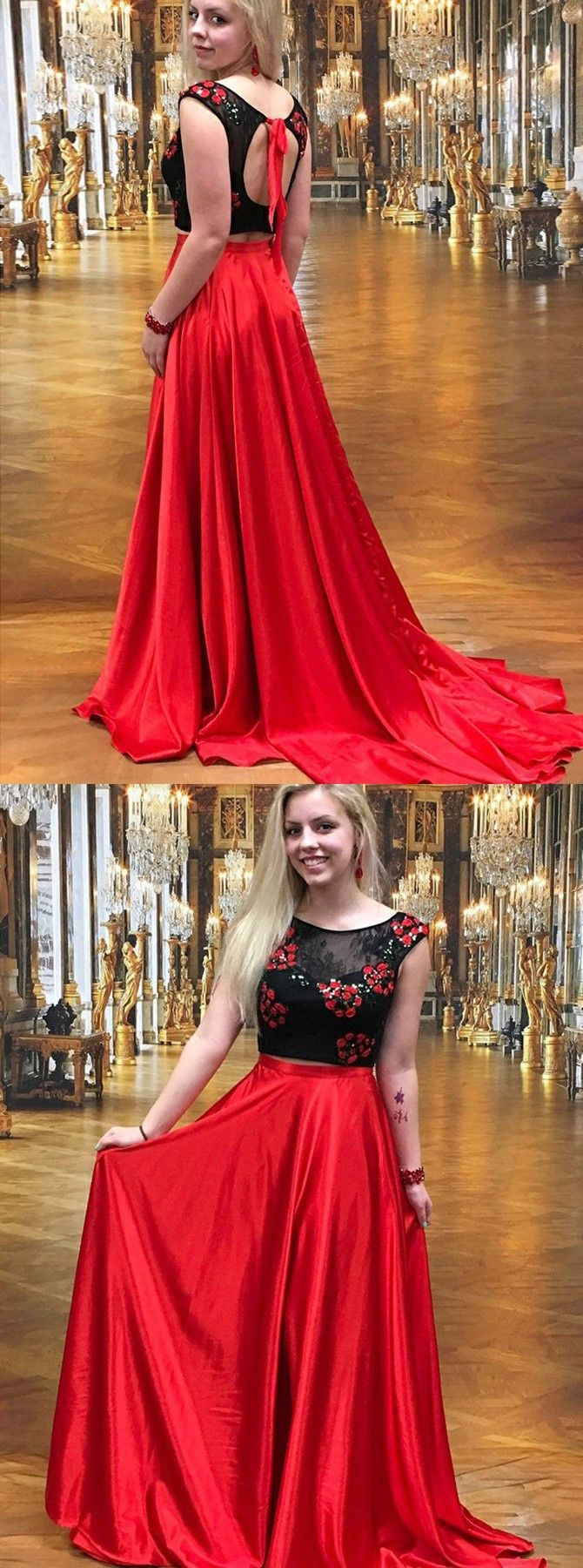 Two piece round neck red elastic satin prom dress with lace