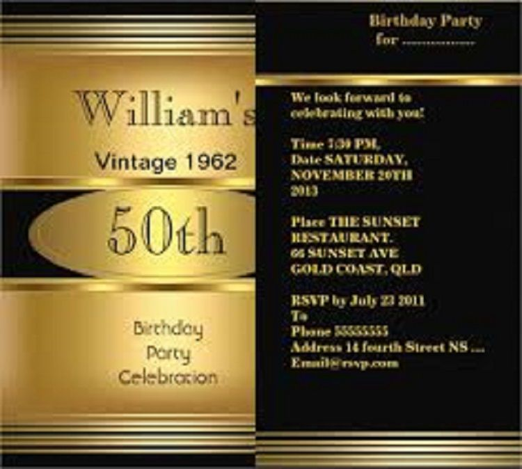 50th Birthday Invitations Male Free