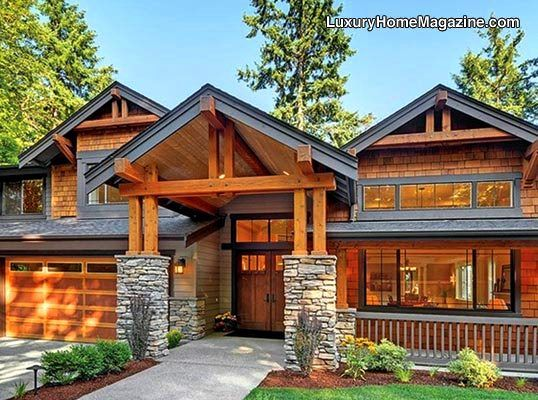 Stunning Rustic Style Home Luxury Homes House Architecture Entrance Entry Front Ya Craftsman Home Exterior Dream House Exterior House And Home Magazine