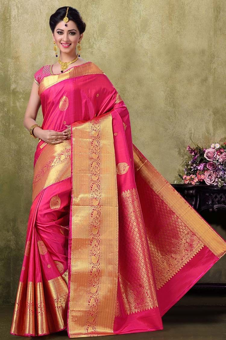 ddb189c0d8 Kanjivaram Rani Color Saree | Silk sarees in 2019 | Saree, Saree ...