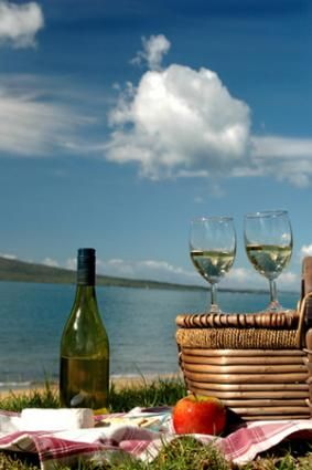 *nice, picnic by the water, with a little wine