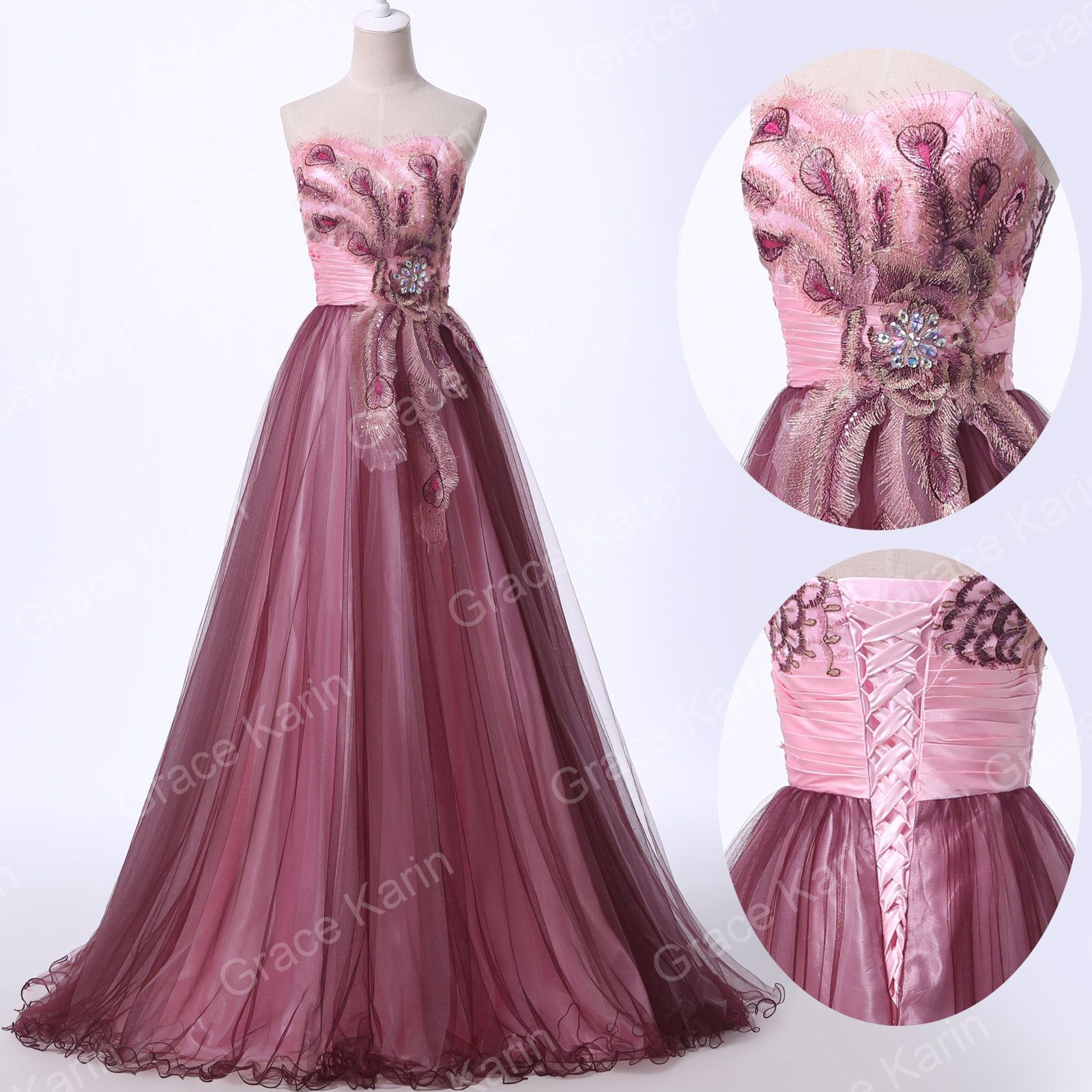 Retro 50er Lange Ballkleider Abendkleid Brautjungfernkleid Party GR ...