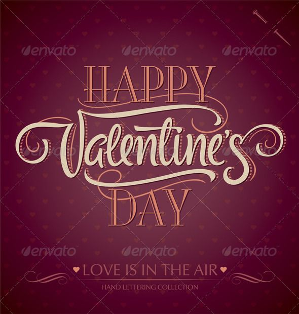 Happy Valentine S Day Hand Lettering Vector Download Stock
